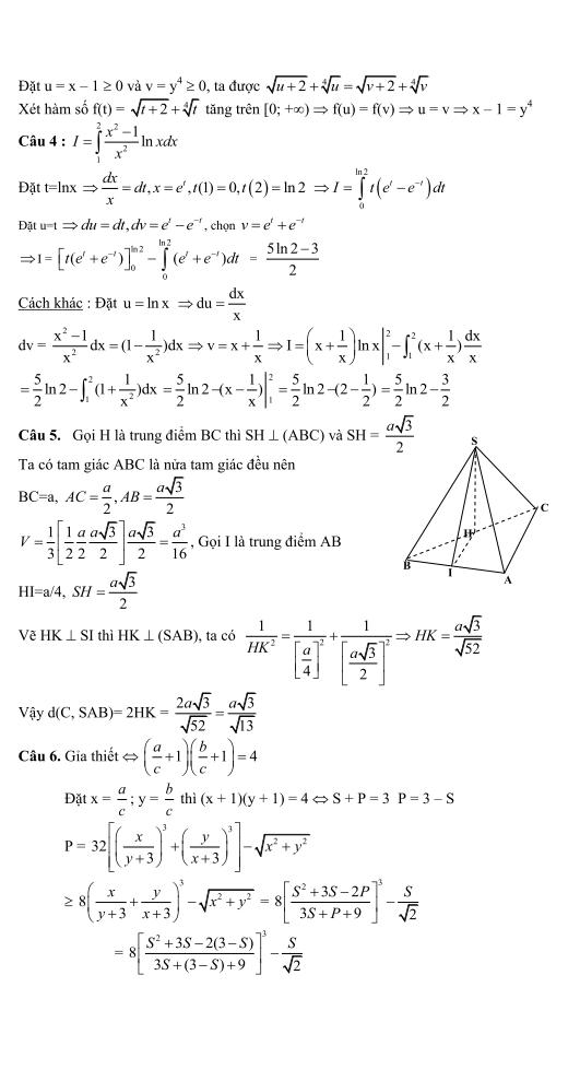 giải đề thi môn toán khối a năm 2013