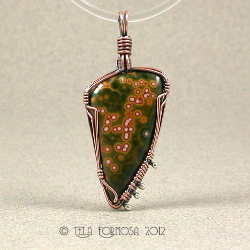 Green White Orange Orbs in Ocean Jasper Handmade 18-20