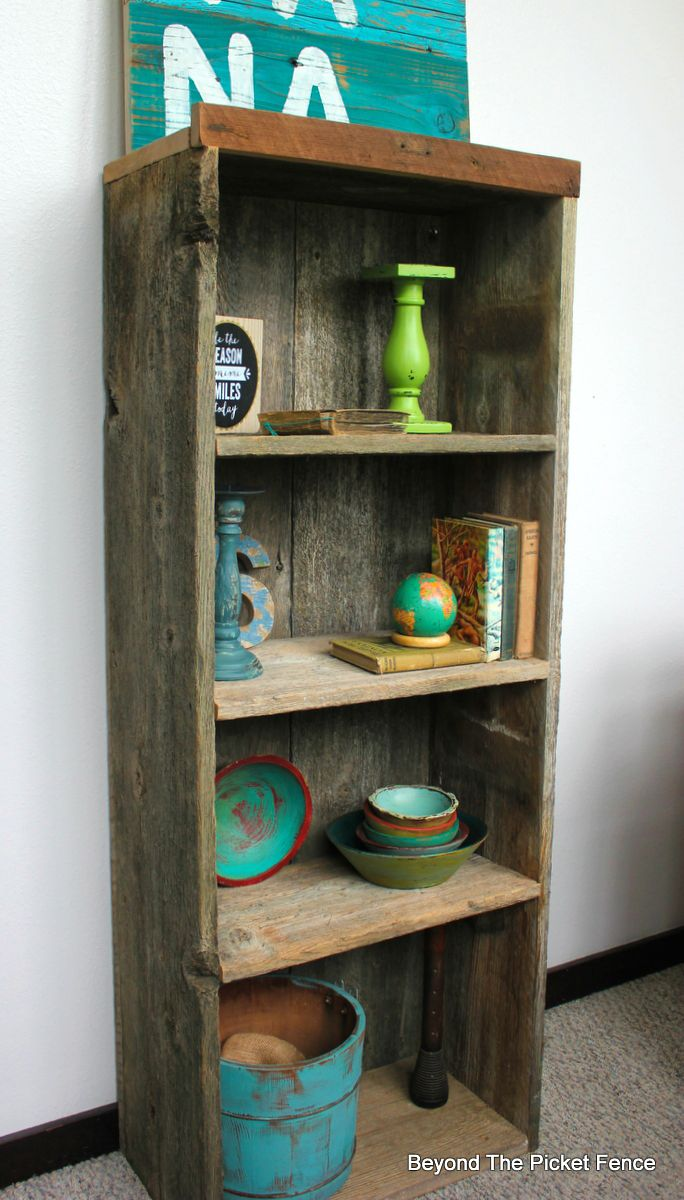 reclaimed wood bookshelf diy weathered wood beyond the picket fencehttp - Reclaimed Wood Bookshelves