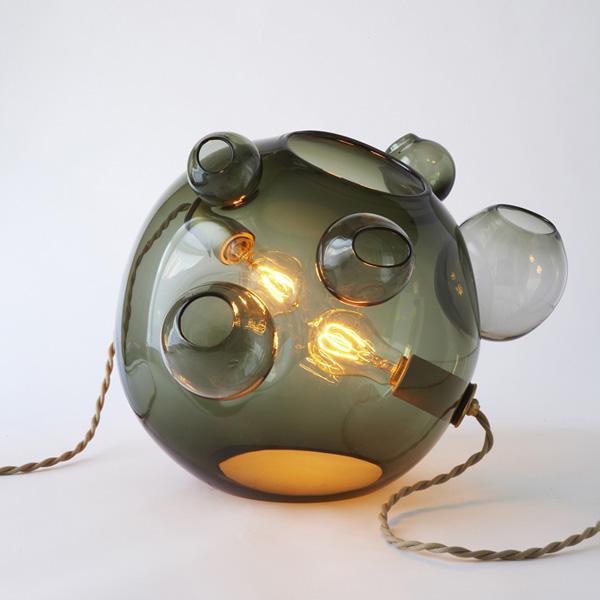 lampara esférica de vidrio soplado verde