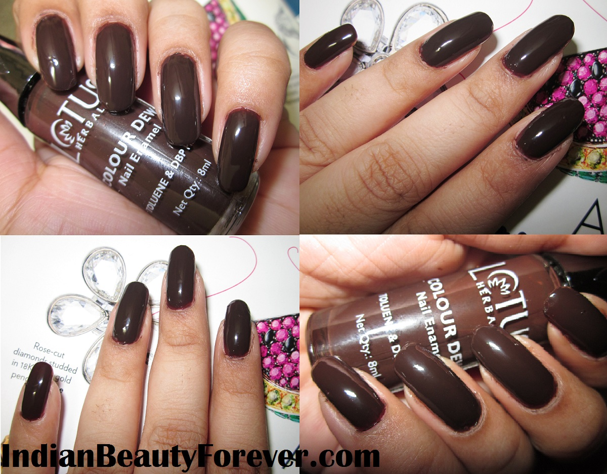 Lotus Herbals nail paint in Choco Fudge swatches