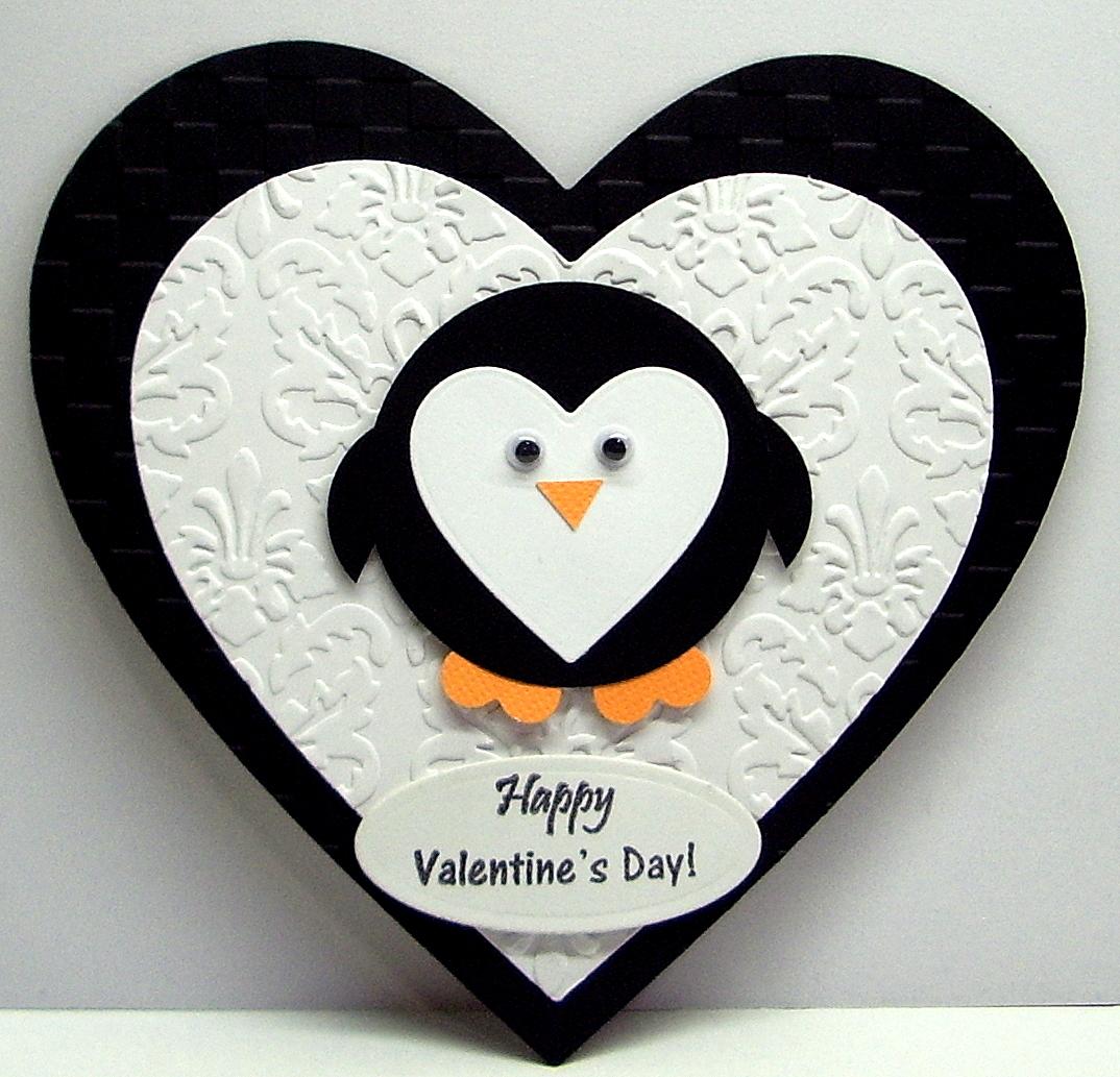 Jenfa cards penguin valentine for Penguin christmas cards homemade