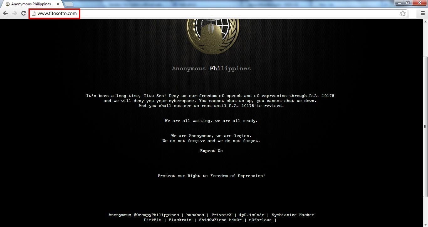 Official Website Of Senator Vicente C. Sotto III Hacked By ...