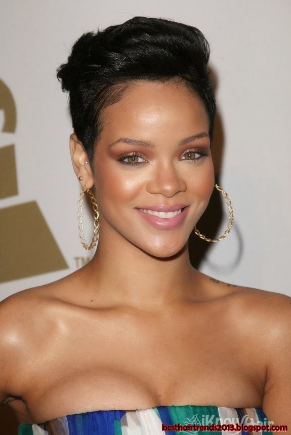 Rihanna Short Hair styles: Close up-cropped hair with short soft waves