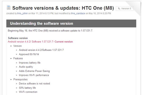 HTC One (M8) for T-Mobile receives software update with Extreme Power Savings mode
