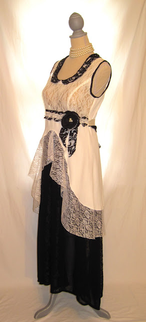 Black and white wedding dress, lace bridal shower special occasion dress