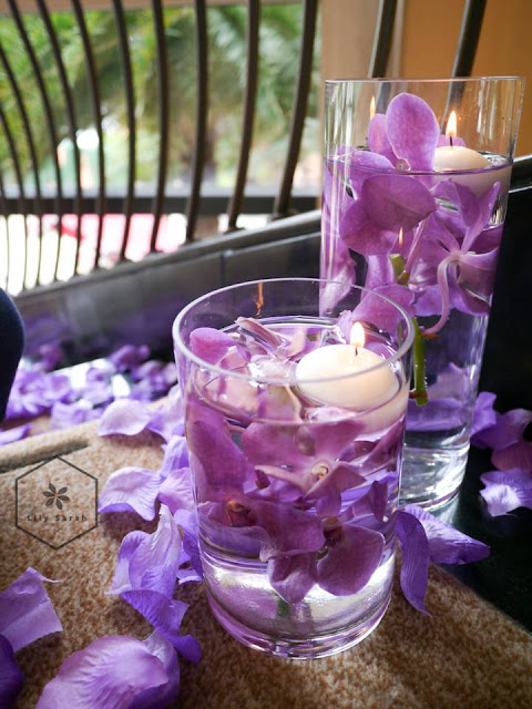 purple wedding reception decoration by lily sarah