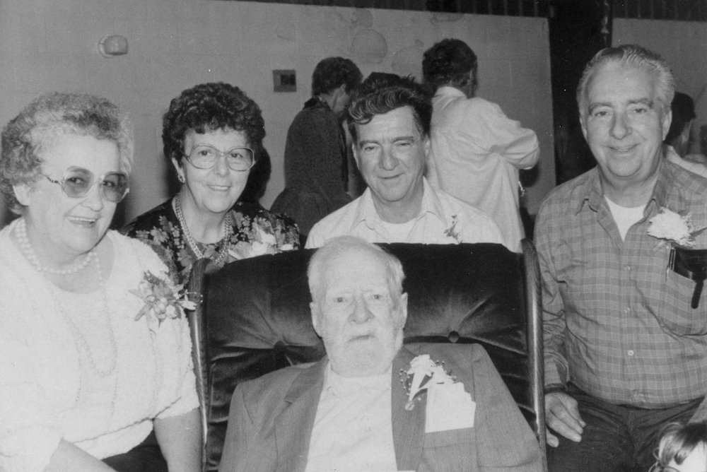 Fred Belair with his children on his 100th birthday 1989