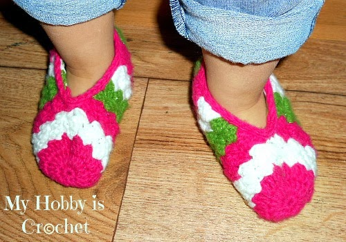 Crochet Patterns For Toddlers Slippers : My Hobby Is Crochet: Toddler slippers Sparkling Holidays ...