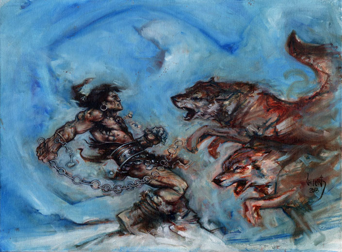 Conan and The Wolves, Artwork© Jeff Lafferty 2013