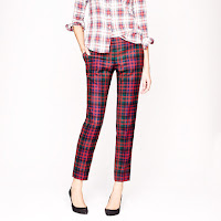 J. Crew Cafe Capri in Red Tartan