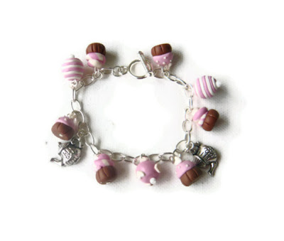 Cupcake Charm Bracelet - Pink Cupcakes & Tea Charm Bracelet Made to Order