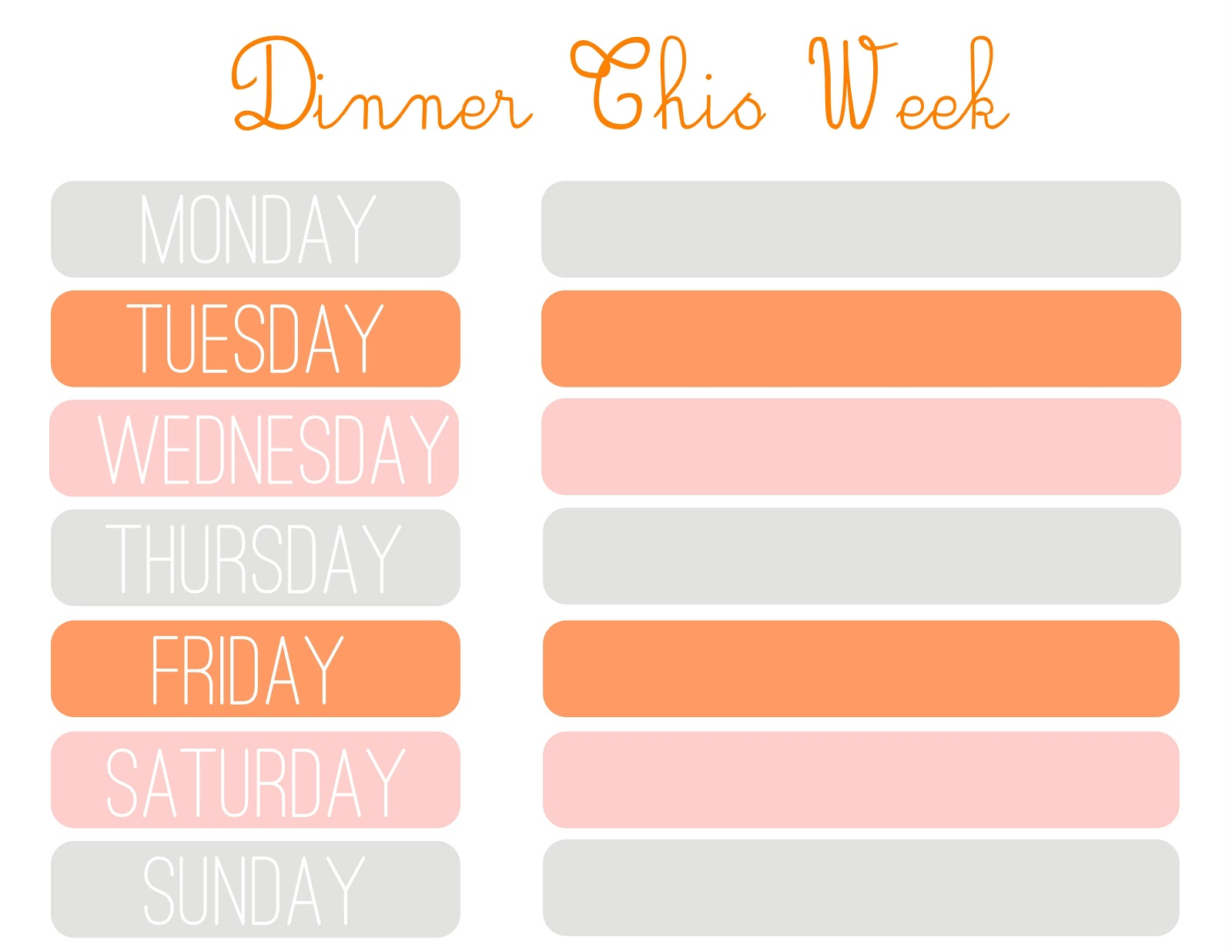 FREE PRINTABLES OF THE DAY: Meal Planner Printable  The Lady Blogger
