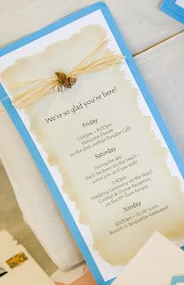 Wedding Itinerary - seashell and rafia accent