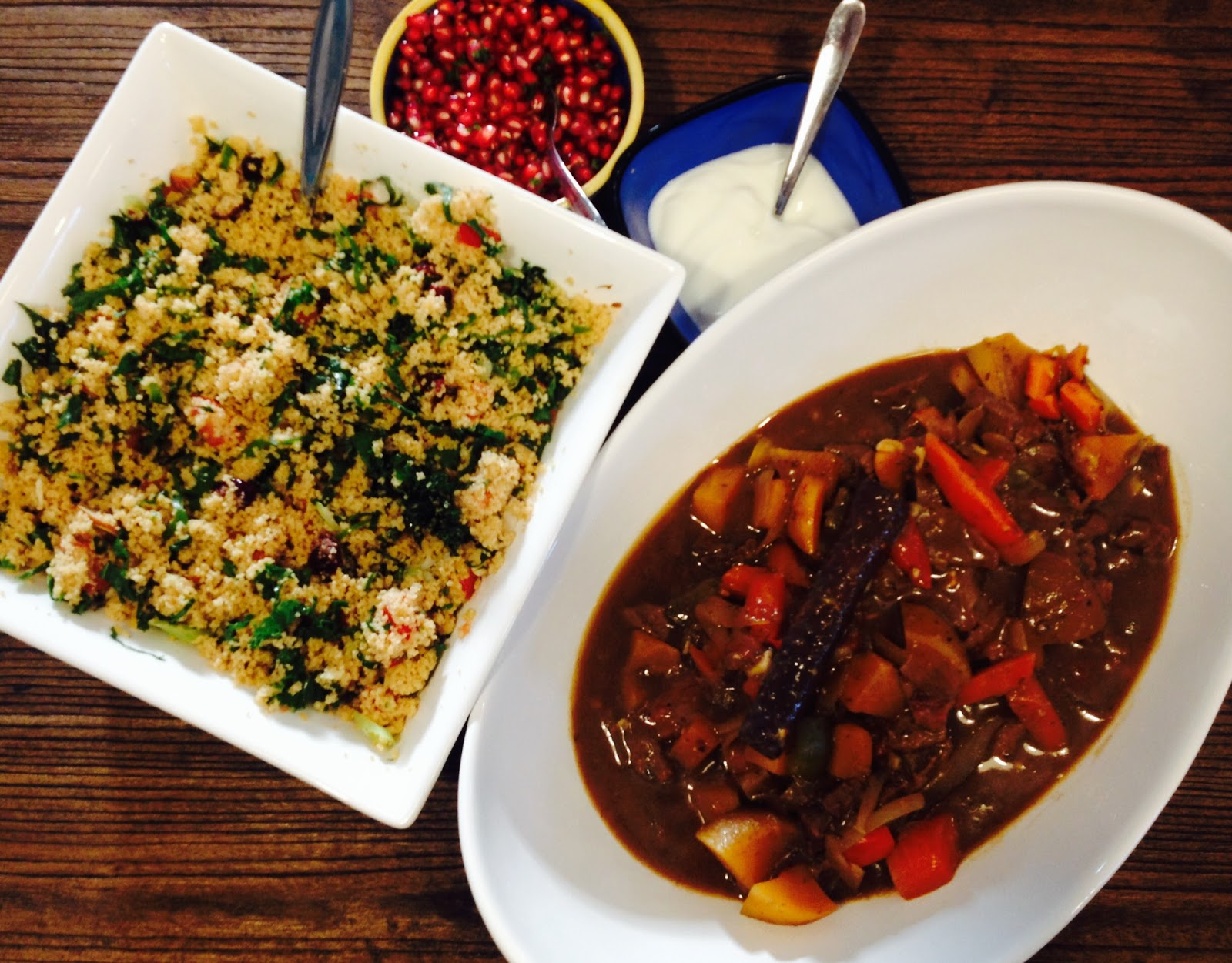Couscous with Lamb, Almonds and Pomegranate Seeds