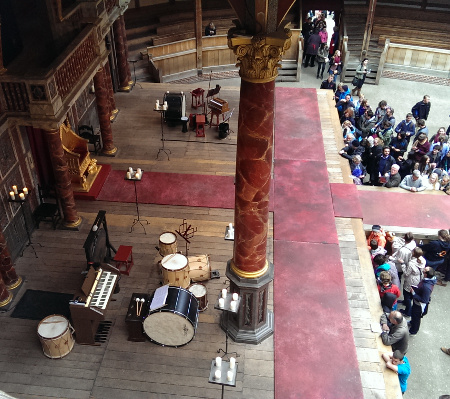 London notes: stage view from the third tier at the Globe Theatre border=