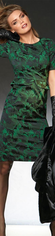 MADELEINE DRESS IN EMERALD/BLACK