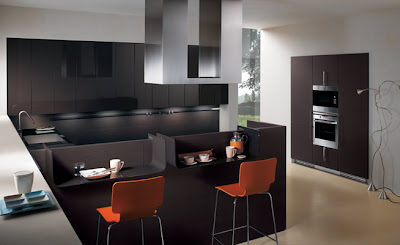 modern kitchen cabinets in black - orange chairs