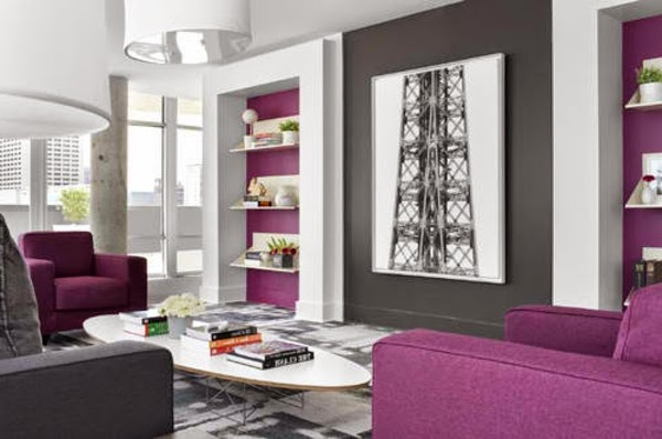 salas de color morado y gris salas con estilo. Black Bedroom Furniture Sets. Home Design Ideas