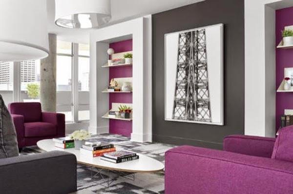 Decoración de sala donde se ha elegido el color gris para los