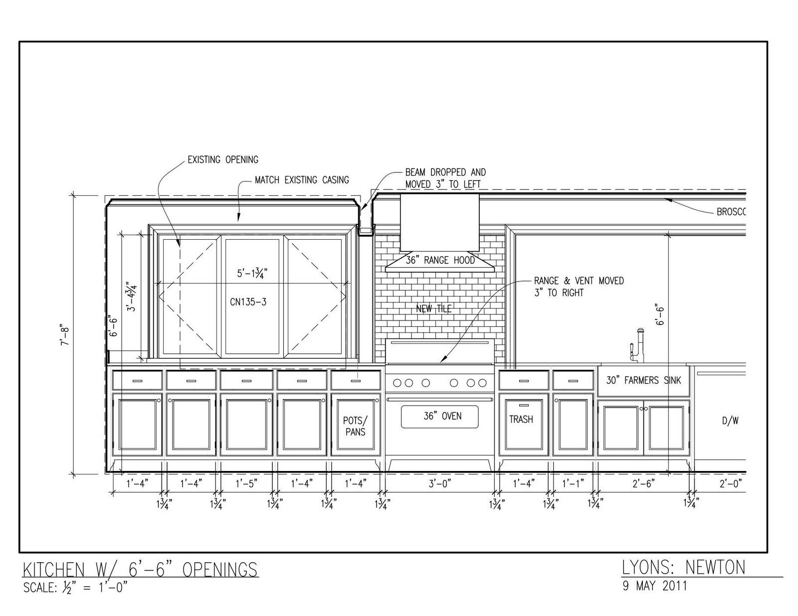Kitchen Design Elevations the lyons renovation: kitchen elevation updated 5/9/11