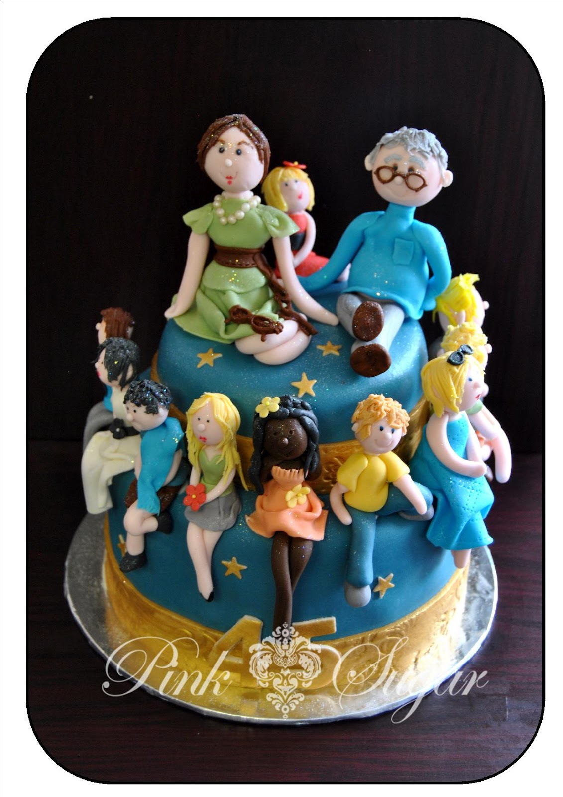 pink sugar  45th anniversary cake   family