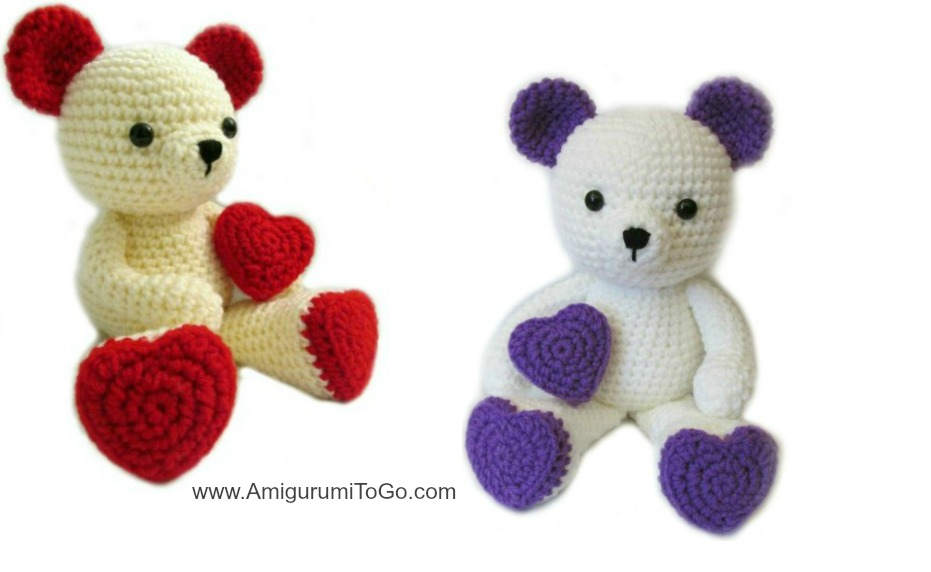 Amigurumi Bear Tutorial : Valentine Teddy Bear With Heart Shaped Feet ~ Amigurumi To Go