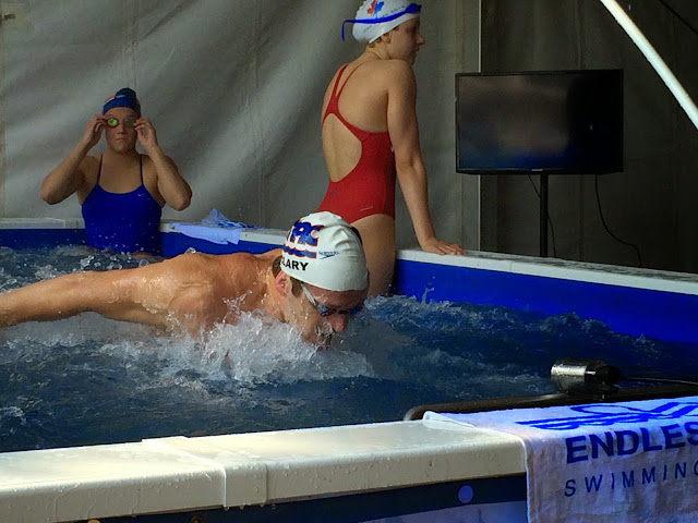 Tyler Clary warms up in the High-Performance Endless Pool at the 2015 Arena Pro Grand Swim Series.