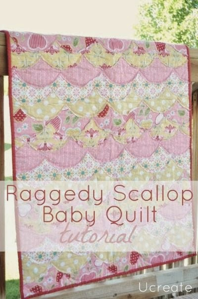 Raggedy Scallop Baby Quilt Tutorial by UCreate - TONS of baby blanket tutorials!
