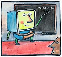 Computer at chalkboard