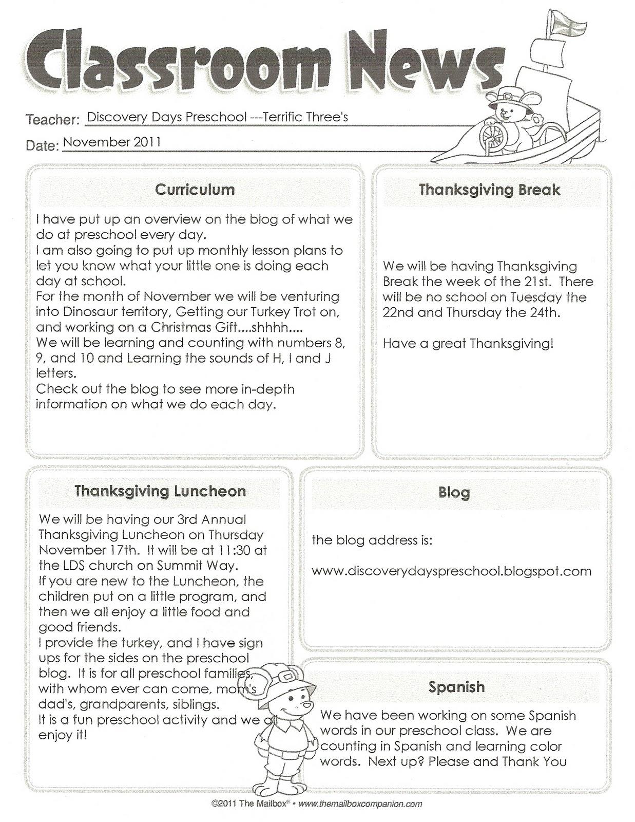 November Kindergarten Calendar : Discovery days preschool november calendar and newsletter