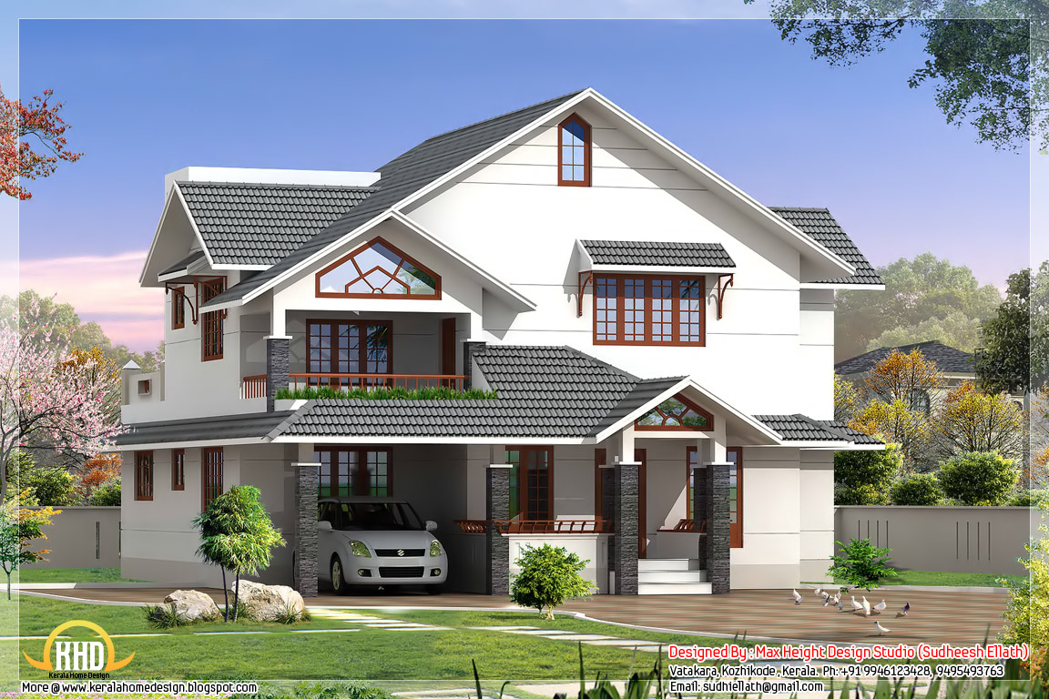 Indian style 3d house elevations kerala home design and for Mansion design plans