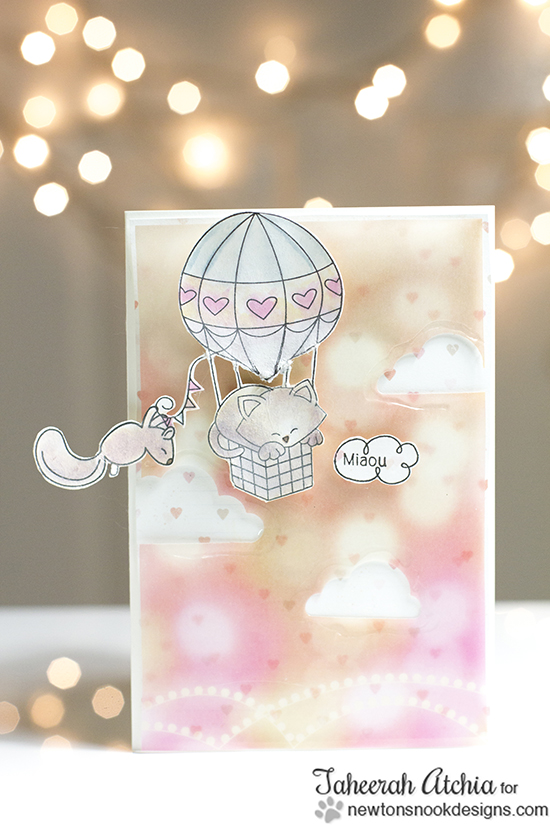 Kitty in Hot Air Balloon Card by Taheerah Atchia | Newton Dreams of Paris Stamps by Newton's Nook Designs
