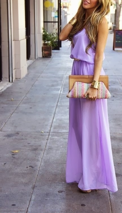 Lilac maxi with brown/gold accessories