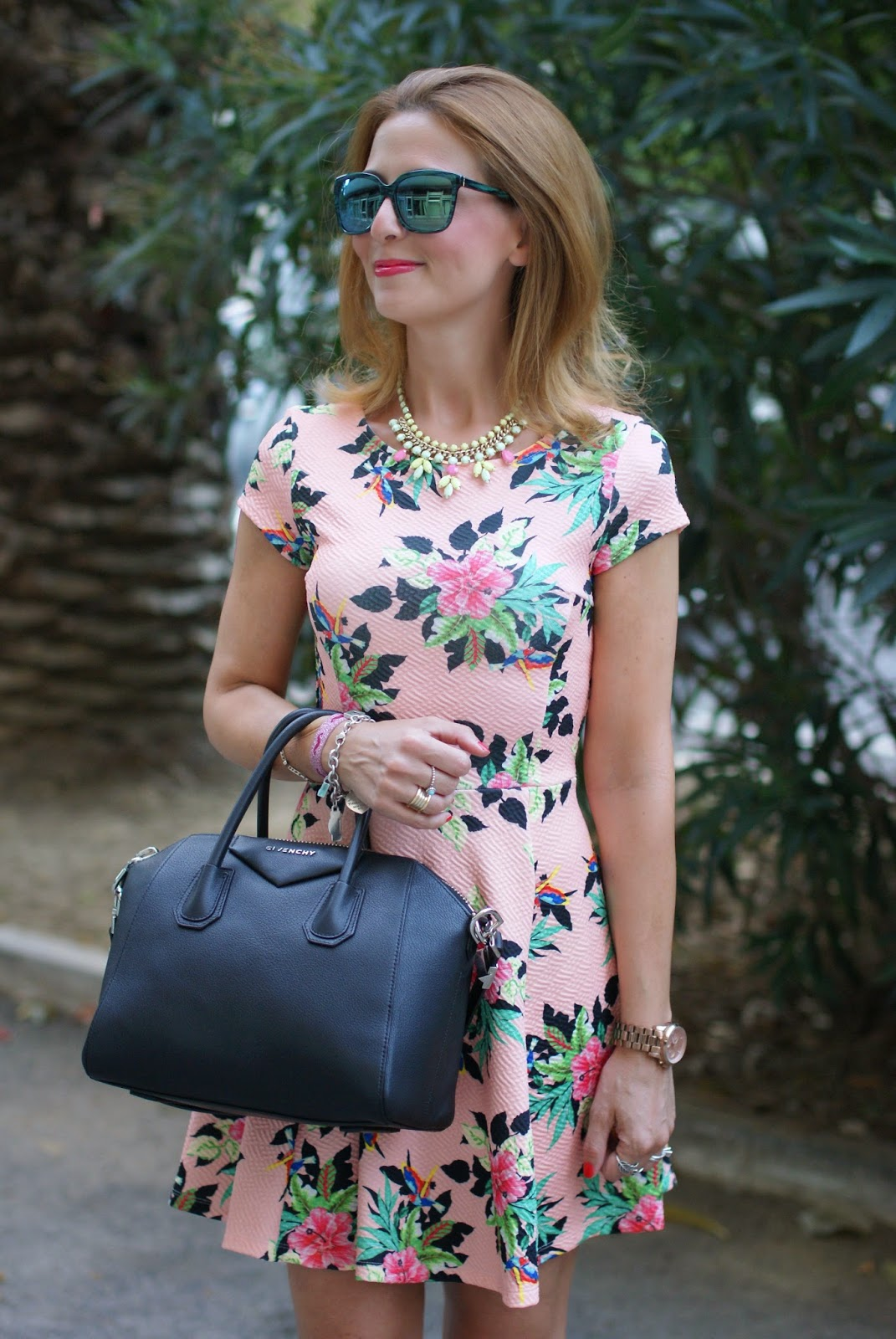 hypeglass green sunglasses, Givenchy Antigona small, pink floral dress, Fashion and Cookies, fashion blogger