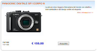 Screenshot della Panasonic GF1 in offerta a 159 euro