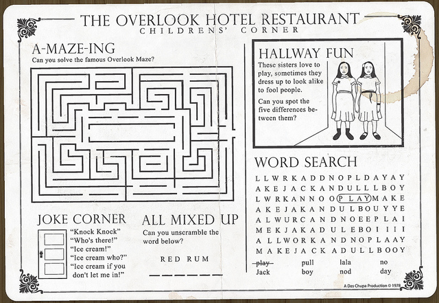 The Overlook Hotel, restaurant placemat, children