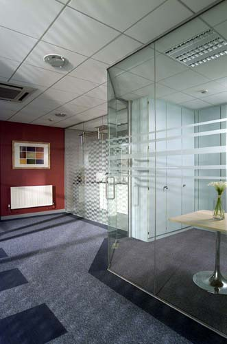 glass office partition is constructed by fitting the tempered glass