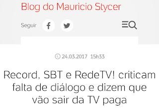 Record, SBT e RedeTV vão sair da TV paga