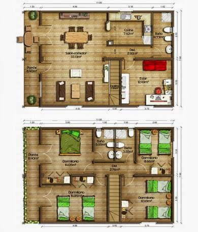 Planos de casas plano dos plantas 155 m2 - Planos casa una planta ...