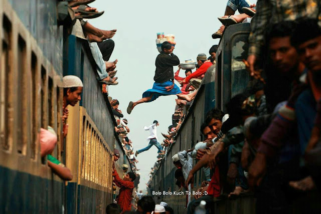 It Happens only in India, Locals Trains fully flooded and also people sitting on Top