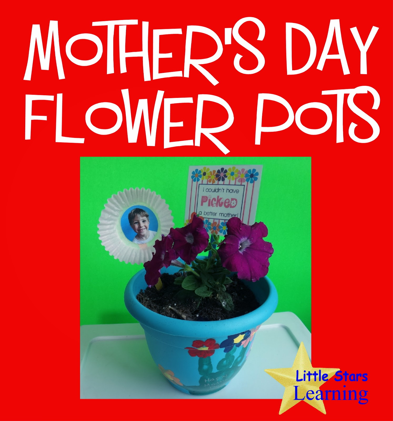 Little Stars Learning: Mother\'s Day Handprint Flower Pots