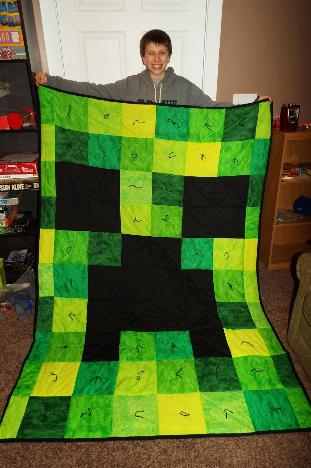 Hook 39 s happenings minecraft creeper quilt for Minecraft fabric by the yard