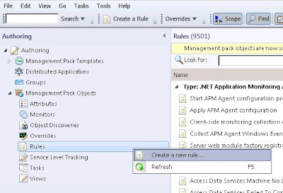 Select Rules in order to create a System Center Operations Manager SNMP collection rule