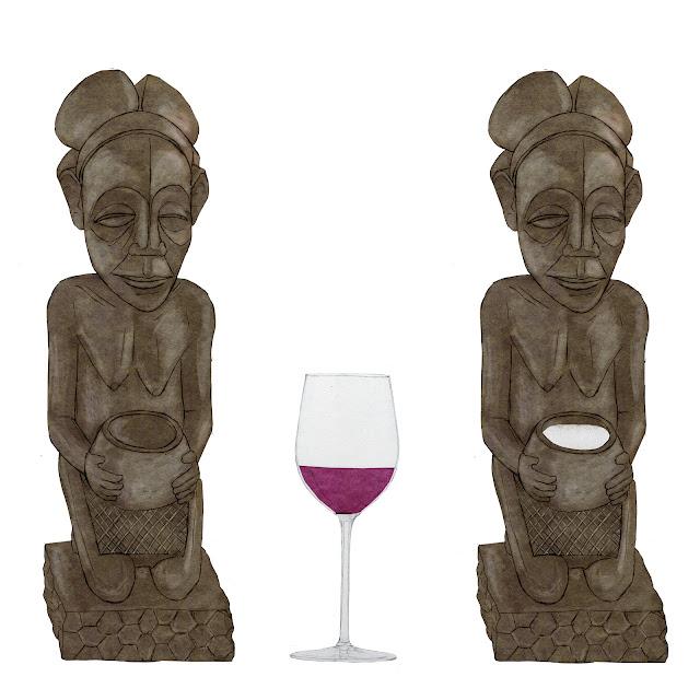 Antropologia, Africa, portadora, copa Luba, caolin, copa de vino, dibujo