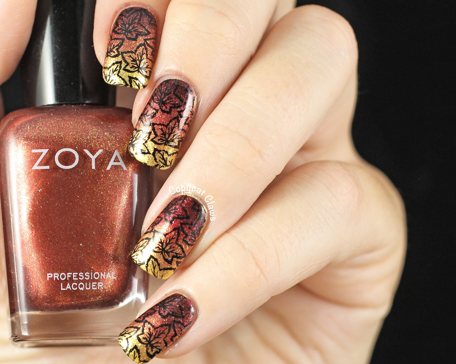 For Inspired By A Color I Took Inspiration From Nail Polish Name Zoya Autumn So Did Fall Toned Gradient And Stamped On Some Leaves