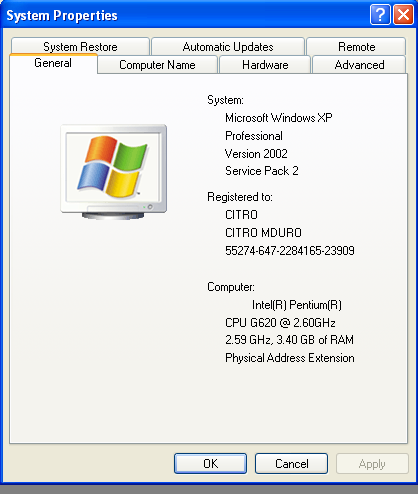 WIndows XP Profesional SP 2 Properties