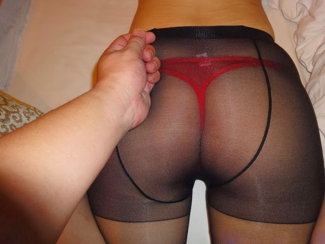 Naughty Fun In Bed With Asian Lady Wearing Black Pantyhose And Red Thong Panties