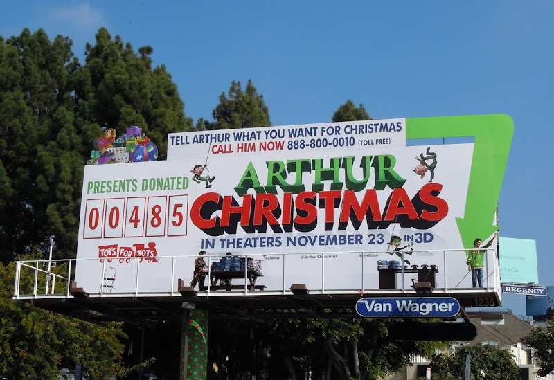 Arthur Christmas Toys for Tots bilboard