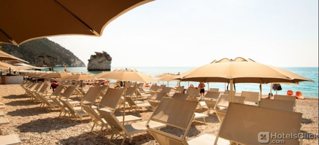 View from the beach of Hotel Baia Dei Faraglioni Beach Resort in Mattinata-Foggia